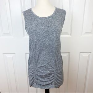 ATHLETA L Workout Short Sleeve Top - Ruched Gray